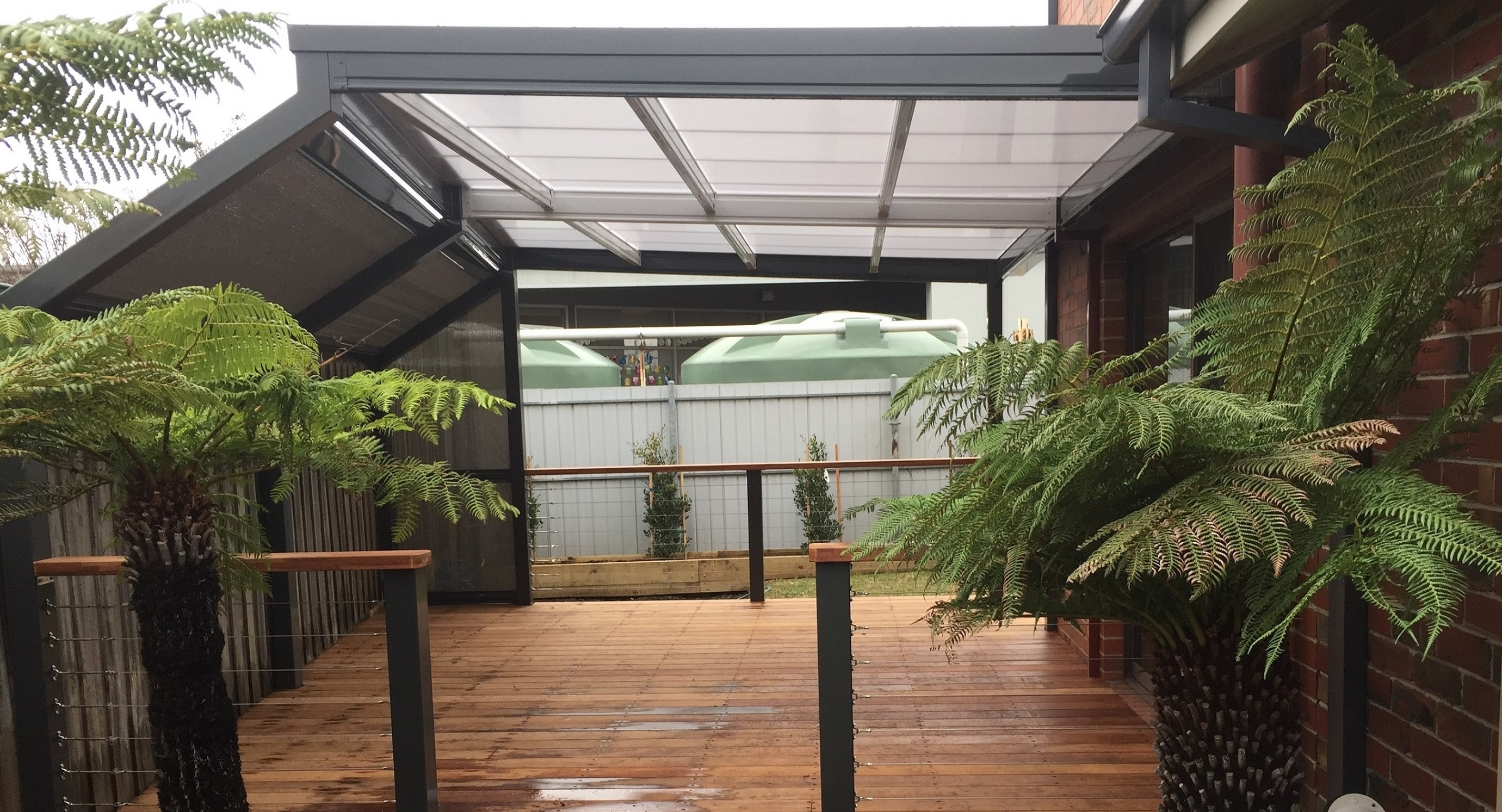 Steel frame decking for Metal frame pergola designs